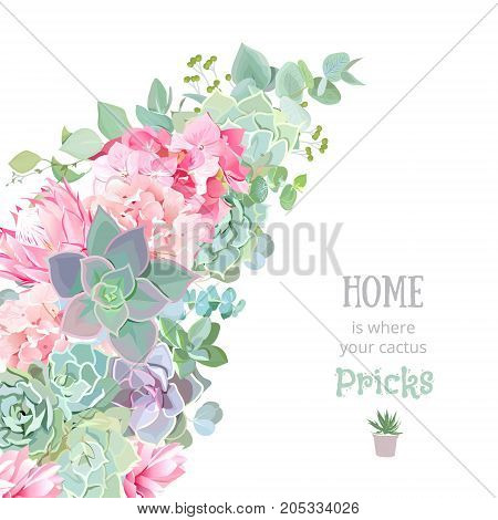 Wild desert floral vector banner stripe with succulents, echeveria, hydrangea, pink protea, eucalyptus. Rustic craft bouquet. Green and pink wedding template. All elements are isolated and editable