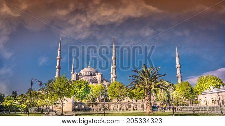 Blue Mosque in Istanbul Turkey panorama at sunset
