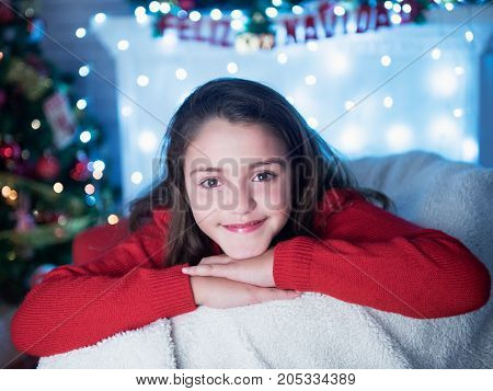 cute little girl in the new year