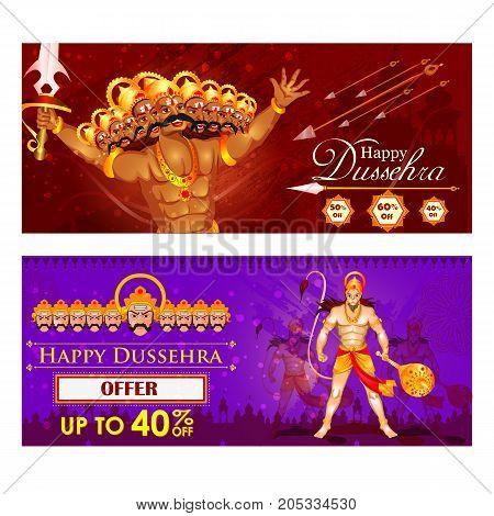vector illustration of Ravana and Hanuman in Happy Dussehra festival of India