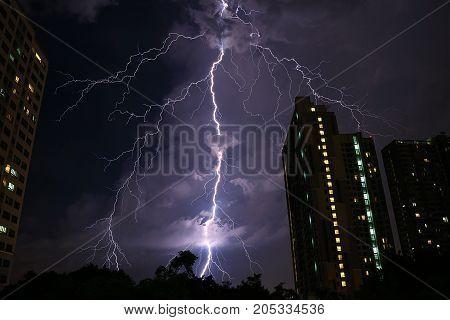 Incredible Real Lightning Striking on Night Sky of Bangkok' s Urban, Monsoon Season in Thailand