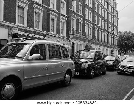 Taxi Cab In London Black And White