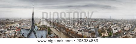 Panoramic view to Seine river, Ile de la Cite and Latin Quarter from Notre-Dame de Paris tower. Top of Notre-Dame de Paris in a gothic style. Paris. France