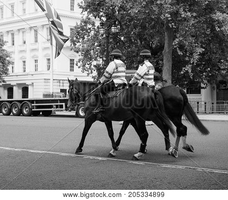 Police On Horseback In London Black And White