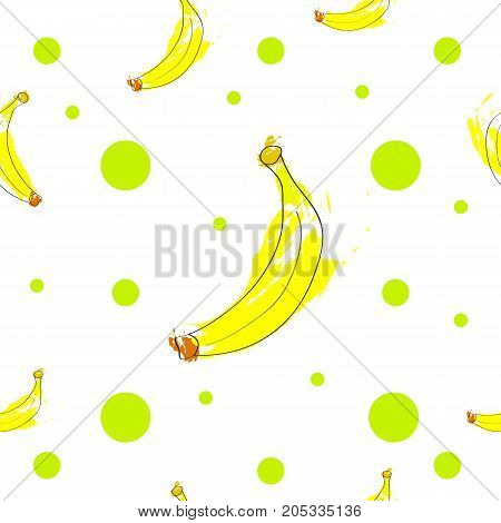 seamless tileable texture with bananas and green polka dots poster