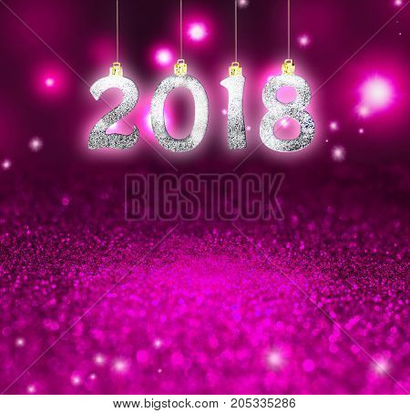 Set of silver shiny digits on glitter background. New year 2018 background. Christmas.