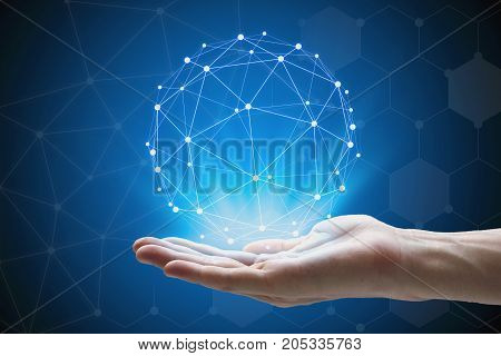 Man hand holding global network hand holding a glowing connected.