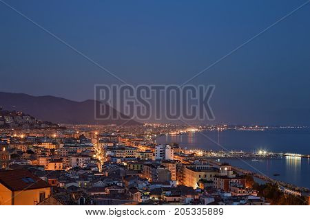 Night Italian City On The Coast