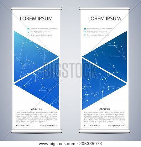 Abstract Roll up banner for presentation and publication. Science, technology and business templates. Structure of molecular particles and atom background, vector illustration