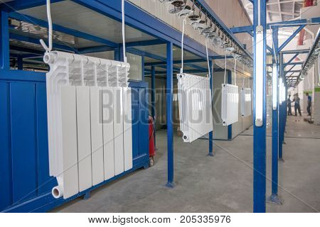 Assembly And Painting Heating Radiators In Manufacturing