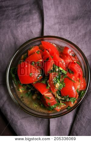 Salsa with garlic tomatoes and olive oil