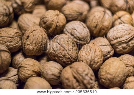 Walnuts background Walnuts texture Close-up Pile of walnuts