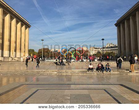 Paris France, 23 September 2017: Olympic games symbol on Trocadero place celebrating Paris 2024 summer Olympics