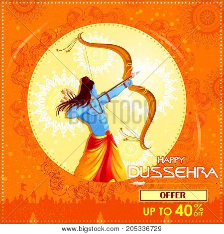 vector illustration of Lord Rama killing Ravana in Happy Dussehra festival offer