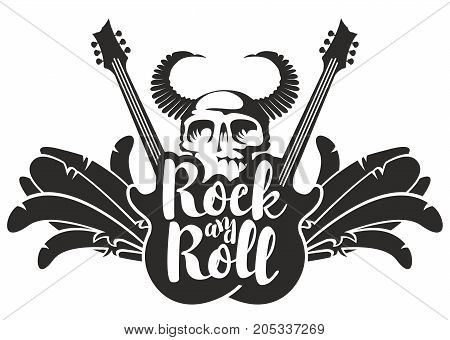 Vector black and white illustration with electric guitars wings feathers human skull and bull horns with inscription rock and roll