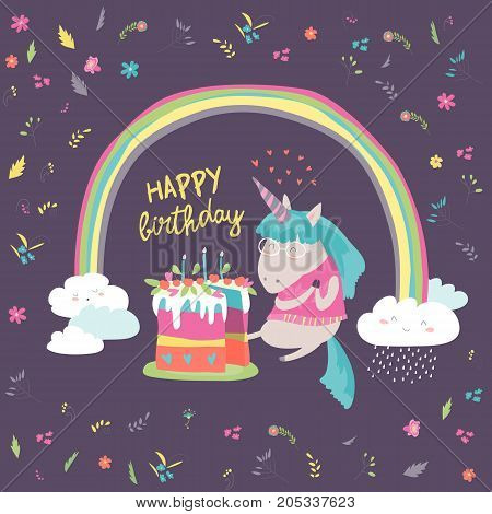 Cute little unicorn celebrates birthday with a delicious cake. Vector illustration