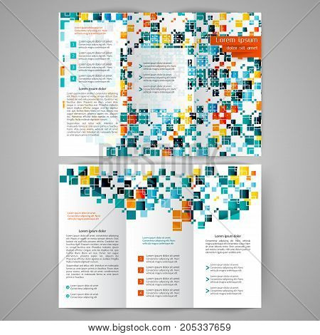 Color tri fold business brochure design with geometric elements