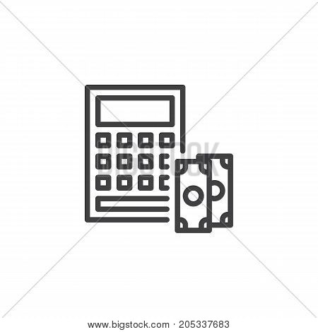 Calculator and dollar money line icon, outline vector sign, linear style pictogram isolated on white. Accounting symbol, logo illustration. Editable stroke