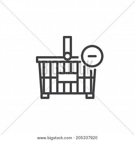 Shopping basket minus line icon, outline vector sign, linear style pictogram isolated on white. Symbol, logo illustration. Editable stroke