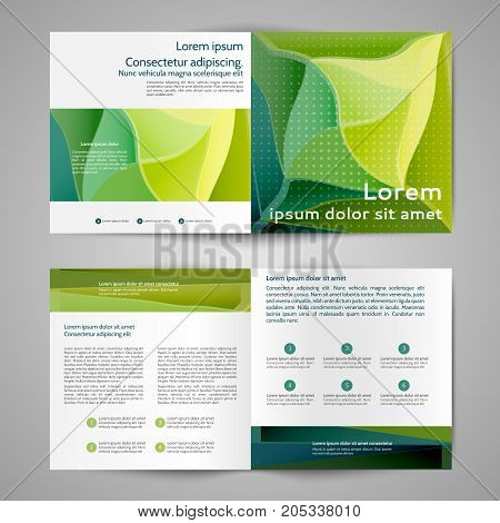 Multipurpose square bi fold brochure with abstract lines and waves