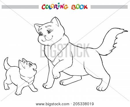 Vector illustration cat mother with kitten. Coloring book image black and white