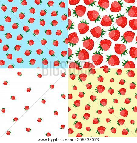 Vector set. Seamless pattern of delicious ripe strawberries.