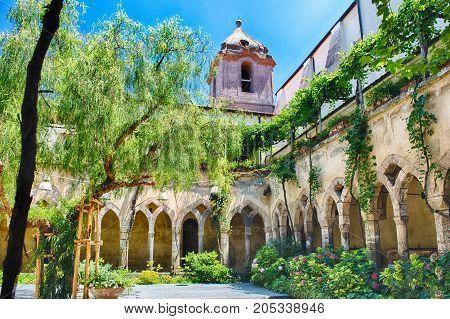 The scenic cloister of San Francesco d'Assisi Church in Sorrento Italy