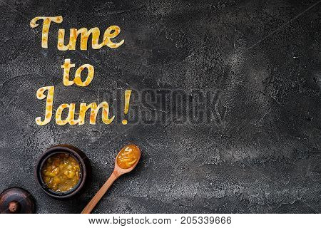 Food Typography Time To Jam On Dark Background With Copy Space. Orange Jam Lettering