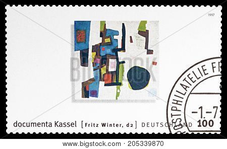 GERMANY - CIRCA 1997 : Cancelled postage stamp printed by Germany, that Promotes Modern Art Exhibition Kassel, circa 1997.