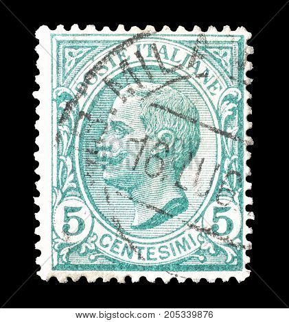 ITALY - CIRCA 1906 : Cancelled postage stamp printed by Italy, that shows portrait of king Victor.
