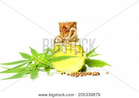 Cannabis Oil In A Bottle Isolated On White