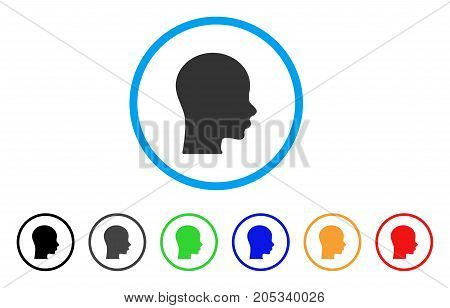 Boy Head rounded icon. Style is a flat boy head gray symbol inside light blue circle with black, gray, green, blue, red, orange versions. Vector designed for web and software interfaces.