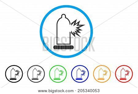 Condom Damage rounded icon. Style is a flat condom damage gray symbol inside light blue circle with black, gray, green, blue, red, orange variants. Vector designed for web and software interfaces.