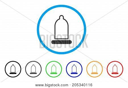 Condom rounded icon. Style is a flat condom grey symbol inside light blue circle with black, gray, green, blue, red, orange color versions. Vector designed for web and software interfaces.