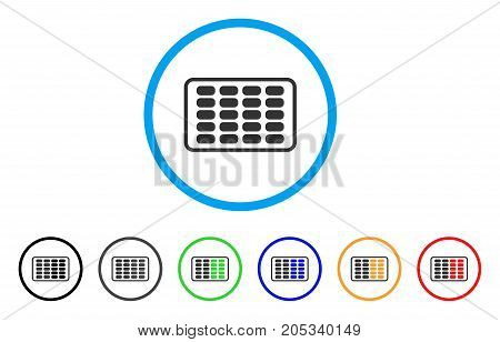 Contraceptives Blister rounded icon. Style is a flat contraceptives blister grey symbol inside light blue circle with black, gray, green, blue, red, orange color versions.
