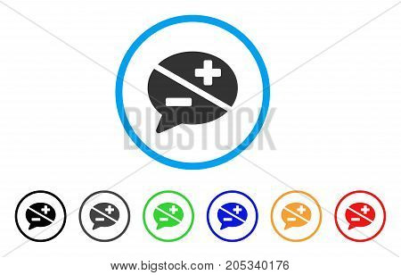 Dispute rounded icon. Style is a flat dispute grey symbol inside light blue circle with black, gray, green, blue, red, orange color versions. Vector designed for web and software interfaces.