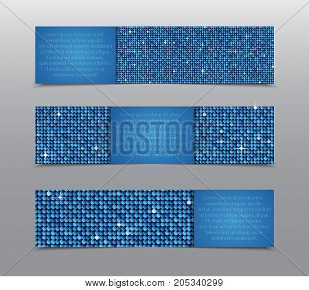 Horizontal Set of Blue Sequins Banners Template for Business Design, Infographics. Blue Mosaic, Sequins, Glitter, Sparkle, Stars. Vector Illustration. Card Brochure Business Card Probe.