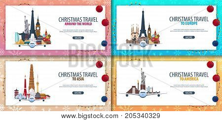 Set Of Banners Christmas Travel Europe. Asia, America, World. Winter Travel. Vector Illustration.