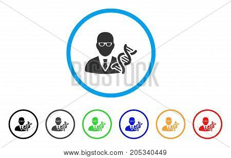 Geneticist rounded icon. Style is a flat geneticist gray symbol inside light blue circle with black, gray, green, blue, red, orange versions. Vector designed for web and software interfaces.