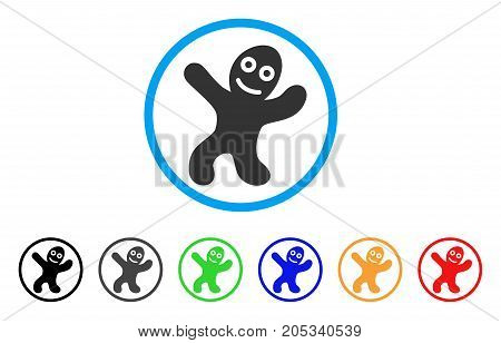 Glad Person rounded icon. Style is a flat glad person grey symbol inside light blue circle with black, gray, green, blue, red, orange versions. Vector designed for web and software interfaces.