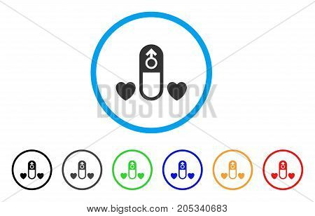 Love Medication Pill rounded icon. Style is a flat love medication pill gray symbol inside light blue circle with black, gray, green, blue, red, orange variants.