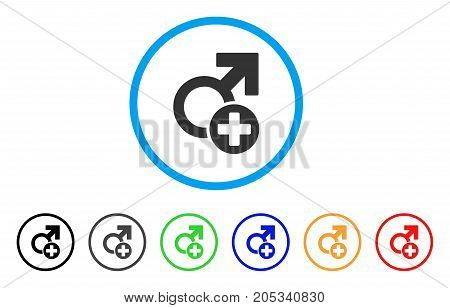 Male Medicine rounded icon. Style is a flat male medicine grey symbol inside light blue circle with black, gray, green, blue, red, orange color versions.