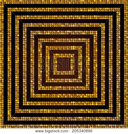Concentric Square Gold Golden Mosaic Sequin Glitter Sparkle Star Elements Background. Web Design.