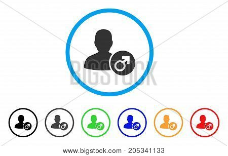 Male rounded icon. Style is a flat male grey symbol inside light blue circle with black, gray, green, blue, red, orange color versions. Vector designed for web and software interfaces.