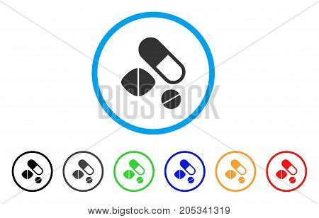 Medication Pills rounded icon. Style is a flat medication pills gray symbol inside light blue circle with black, gray, green, blue, red, orange variants.