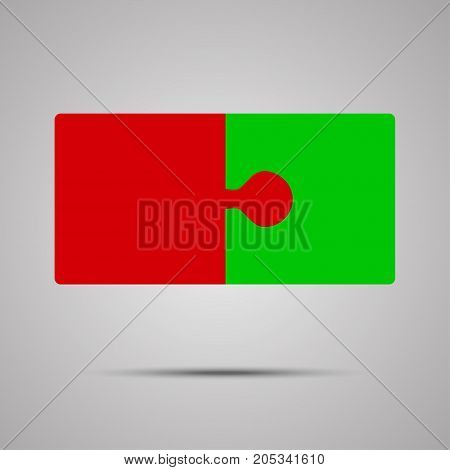 Red Green Piece Puzzle Round Infographic Presentation. 2 Step Business Diagram. Two Section Compare Service Banner. Vector Illustration Template Shape.
