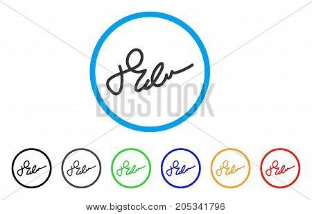 Signature rounded icon. Style is a flat signature grey symbol inside light blue circle with black, gray, green, blue, red, orange versions. Vector designed for web and software interfaces.