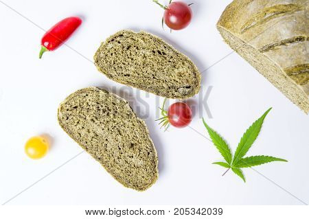Green Bread Baked With Marijuana Leaves