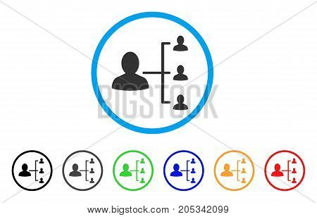 User Scheme rounded icon. Style is a flat user scheme grey symbol inside light blue circle with black, gray, green, blue, red, orange color versions. Vector designed for web and software interfaces.