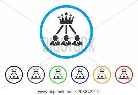 Administration Crown rounded icon. Style is a flat administration crown grey symbol inside light blue circle with black, gray, green, blue, red, orange versions.